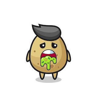 Die süße kartoffelfigur mit kotze, süßes design für t-shirt, aufkleber, logo-element