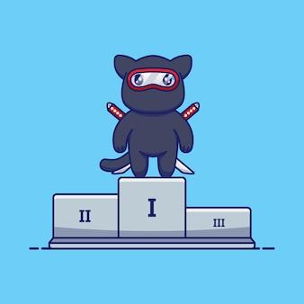 Die süße ninja-katze gewann den ersten platz