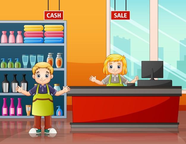 Die supermarktarbeiter in der kassenillustration
