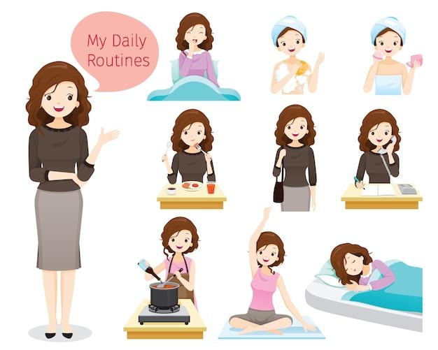 Die täglichen routinen der frau, verschiedene aktivitäten, arbeiten, entspannen