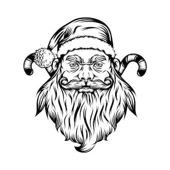 Die tätowierungsillustration des erschreckenden weihnachtsmanns mit dem zuckerstab