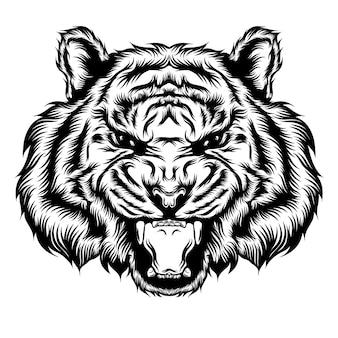 Die tattoo-illustration des tiger-einzelkopfes und öffnen seinen mund