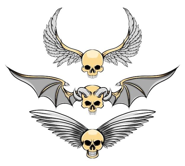 Die tattoo-inspiration des gruseligen toten schädels mit den großen flügeln der illustration