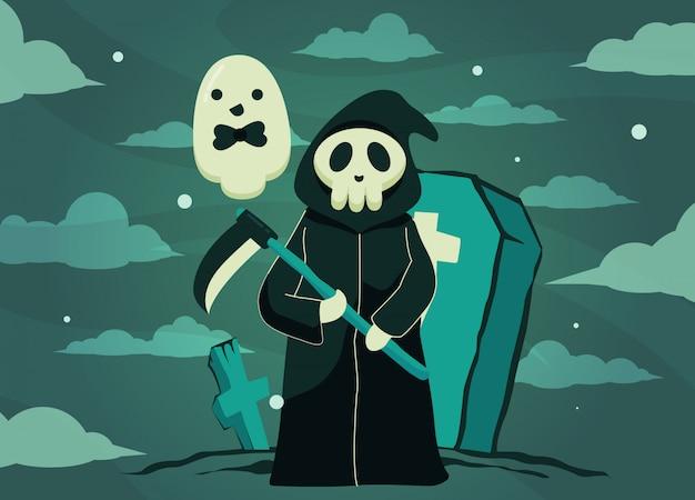 Die teufel-halloween-illustration