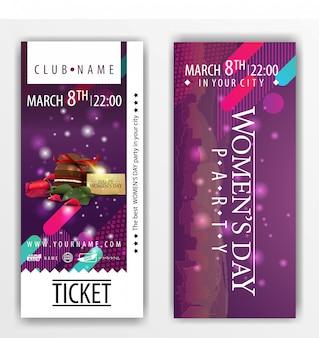 Die tickets für die party am frauentag mit süßigkeiten und rose