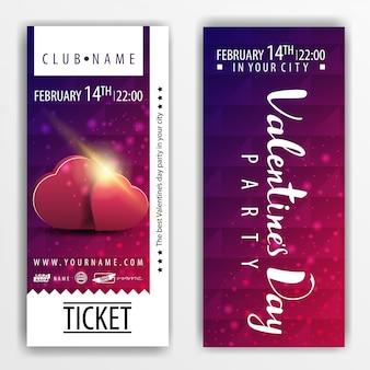 Die tickets für die party am valentinstag mit herzen