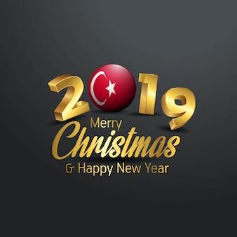 Die türkei-markierungsfahne 2019 frohe weihnachtstypographie