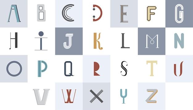 Die typografieillustration des englischen alphabetes