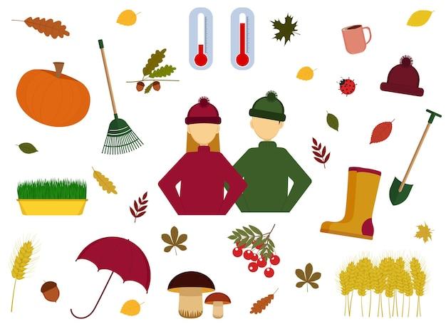 Die vektorgrafik des herbstsets besteht aus menschen, blättern, regenschirm, gummistiefeln, pilzen, ästen, eberesche, ohr, tasse mit kaffee