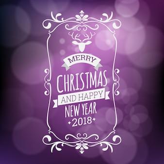 Die vektorillustration der frohen weihnachten und des guten rutsch ins neue jahr, die auf purpur lokalisiert wurde, verwischte hintergrund
