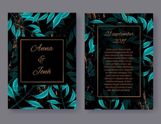 Die vordere und hintere ansicht der hochzeits-einladungs-karte, blumen laden design mit grünen tropischen palmblättern ein