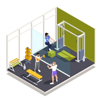 Die vorsichtsmaßnahmen für die pandemie im fitnessstudio des trainingszentrums regeln die isometrische zusammensetzung mit krafttraining in gesichtsmasken mit desinfektionsmittelillustration