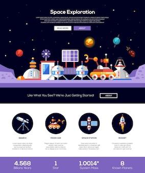 Die website-vorlage für das weltraum- und sonnensystem