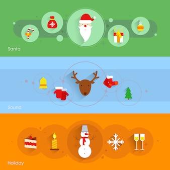 Die weihnachtsfahne, die mit sankt-feiertagston eingestellt wurde, lokalisierte vektorillustration