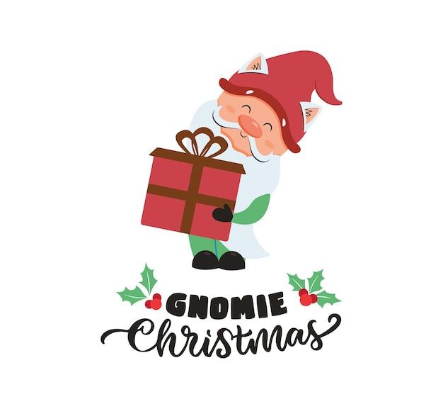 Die weihnachtskarte mit winterzwerg der gnom hält ein geschenk mit text für urlaubsdesigns