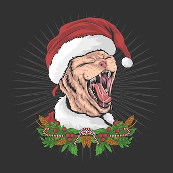 Die weihnachtskatze trägt einen weihnachtsmannhut und schreit