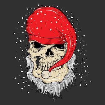 Die weihnachtsmann-schädelzeichnung