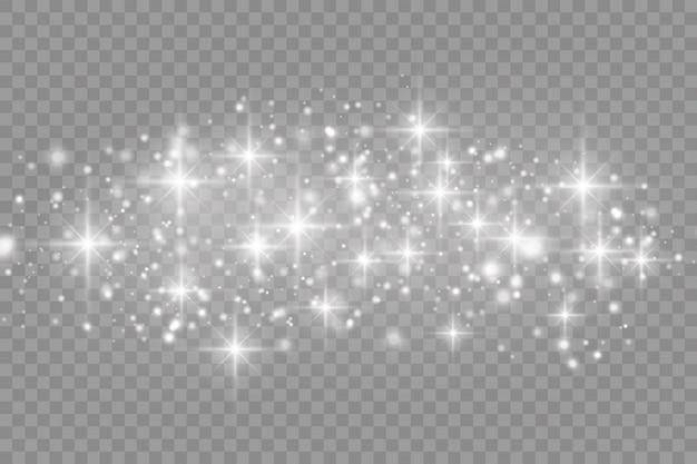 Die weißen staubfunken und der stern leuchten mit speziellem licht, funkelndem lichteffekt, funkelnden magischen staubpartikeln isoliert, leuchten lichter, funkeln, vektorillustration.