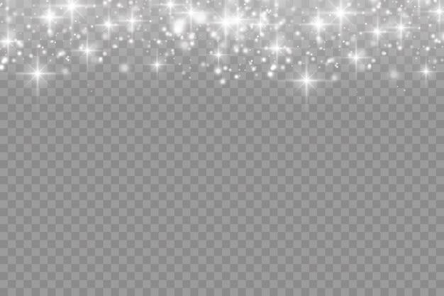 Die weißen staubfunken und der stern leuchten mit speziellem licht, funkelnden magischen staubpartikeln isoliert, leuchten lichter, funkeln, vektorillustration.