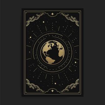 Die welt oder erde, kartenillustration mit esoterischen, boho, spirituellen, geometrischen, astrologischen, magischen themen, für tarot-leserkarte