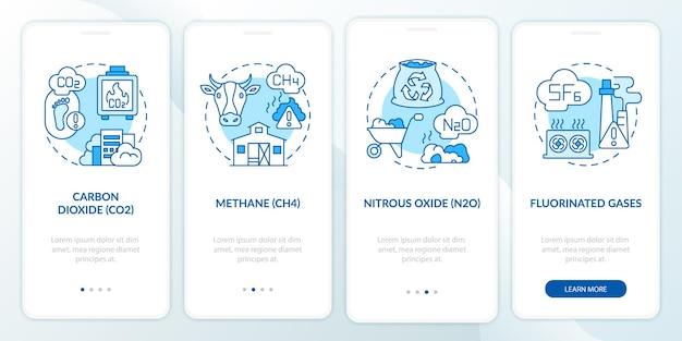 Die wichtigsten treibhausgase onboarding-seitenbildschirm der mobilen app mit konzepten