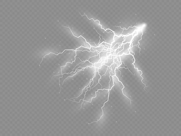 Die wirkung von blitz und licht satz reißverschlüsse gewitter und blitz