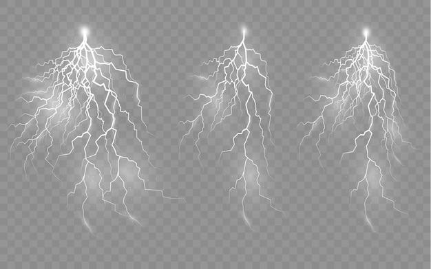 Die wirkung von blitzen und beleuchtungsset von reißverschlüssen gewitter und blitzlicht und glanz