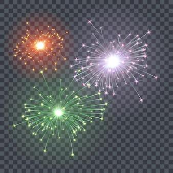 Die wirkung von festlichem feuerwerk. weihnachtshelle wunderkerzen mit transparenz. leuchtender glitzer. isolierte beleuchtungsdekoration. vektorgrafik auf lager