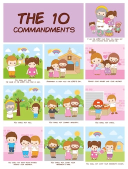 Die zehn gebote des christentums, karikaturillustration