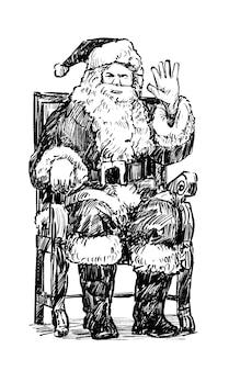 Die zeichnung des weihnachtsmanns ist eine handzeichnung