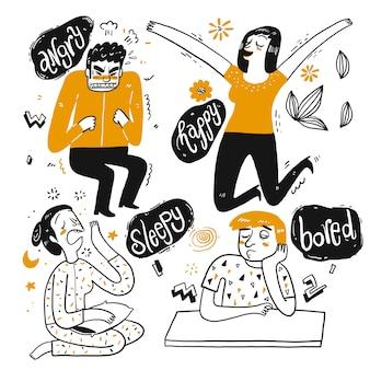 Die zeichnungscharakter der menschen sind wütend, schläfrig, glücklich.