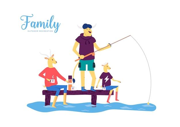 Die ziegenfamilie verbringt viel zeit am see- oder flussufer. mutter trinkt tee und genießt den blick auf die natur.