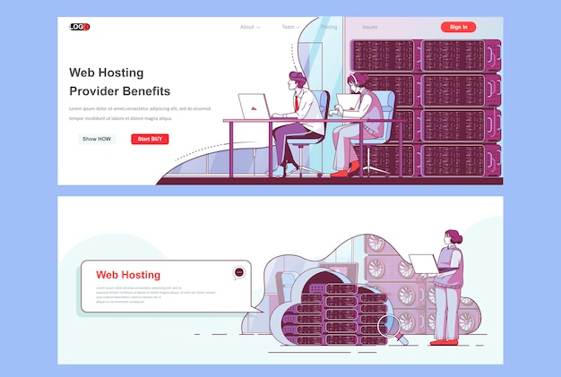Die zielseitenvorlage des webhosting-anbieters wird als header verwendet