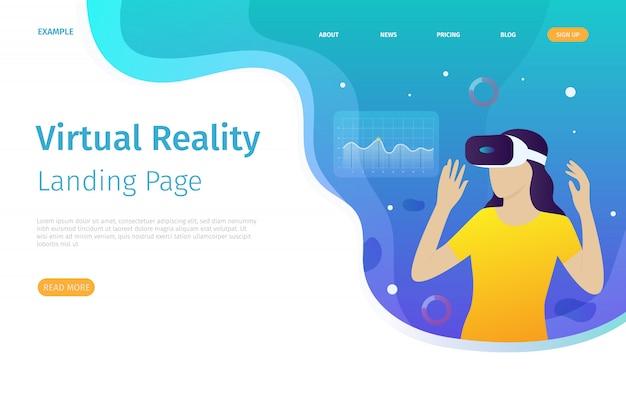 Die zielseitenvorlage für die virtuelle realität kann für websites verwendet werden