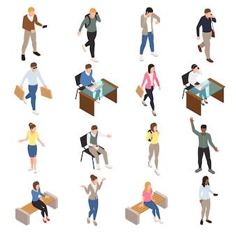 Die zufälligen isometrischen ikonen der stadtmenschen, die mit arbeits- und freizeitsymbolen eingestellt wurden, lokalisierten illustration