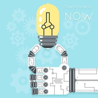Die zukunft ist jetzt. roboterhand, die glühbirne hält. stromkreativität, geräteinnovation