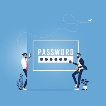 Dieb hacker stiehlt sensible daten, persönliche informationen als passwörter, concept hacking internet