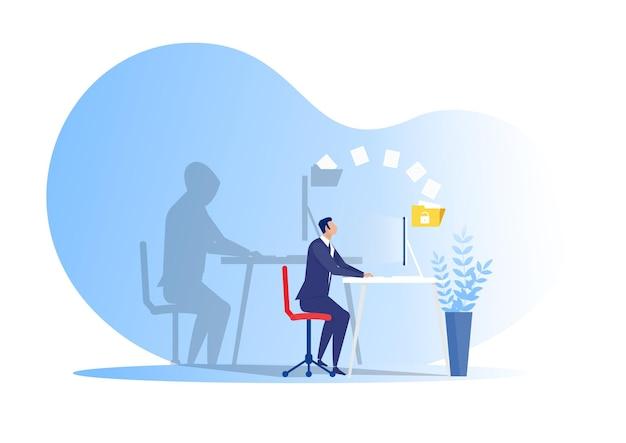 Dieb herunterladen oder übertragen persönliche daten auf laptop-hacker-konzept illustrationthief herunterladen oder übertragen persönliche daten auf laptop-hacker-konzept illustration