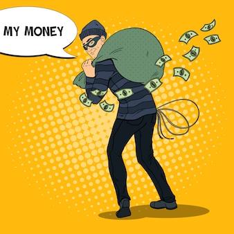 Dieb in schwarzer maske, der geld stiehlt