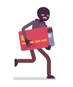 Dieb in schwarzer maske hat kreditkarte gestohlen und rennt davon