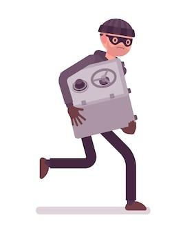 Dieb in schwarzer maske hat tresor gestohlen und rennt davon