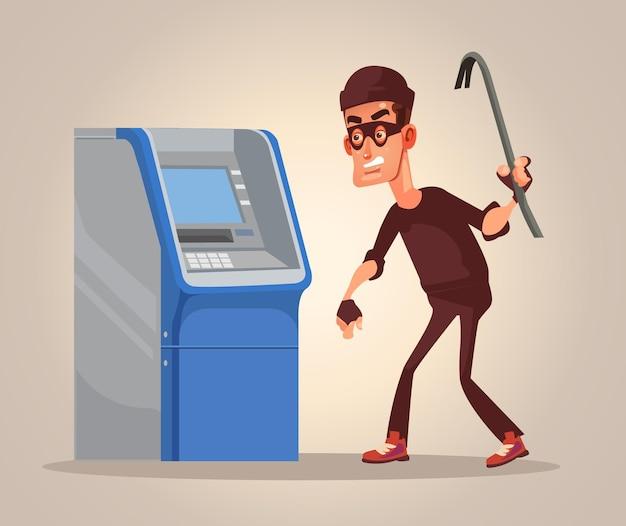Dieb-mann-figur stiehlt geld von atm-cartoon-illustration