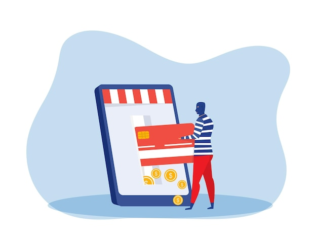 Dieb mann stiehlt geld von kreditkarte auf laptop-telefon. finanzkriminelle, illegale beschäftigung vektor-illustration
