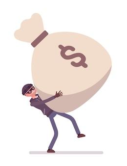 Dieb und ein riesiger geldsack
