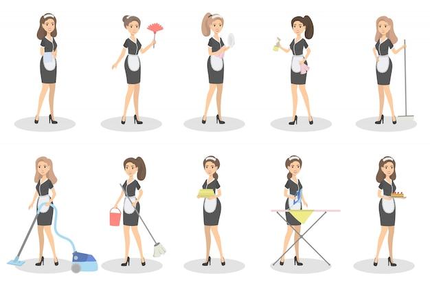 Dienstmädchen eingestellt. frauen mit reinigungsgeräten.