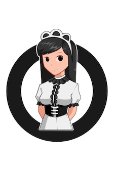 Dienstmädchen in der cartoon-illustration des arbeitstages Premium Vektoren