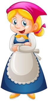 Dienstmädchen-zeichentrickfigur lokalisiert auf weißem hintergrund
