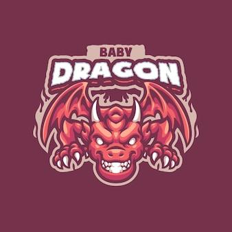 Dies ist das baby dragons mascot logo. dieses logo kann für sport-, streamer-, gaming- und esport-logos verwendet werden.