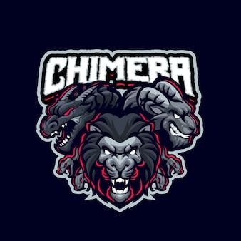Dies ist das chimera mascot logo. dieses logo kann für sport-, streamer-, gaming- und esport-logos verwendet werden.