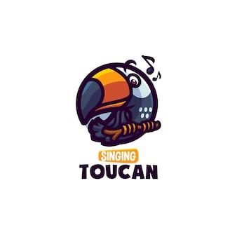 Dies ist das cute toucan mascot logo. dieses logo kann für restaurants, speisen und getränke, geschäfts- oder firmenlogos verwendet werden.